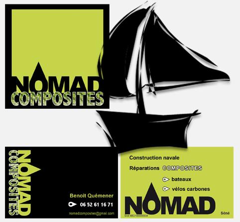 Création logo + autocollant + carte de visite Nomad Composites